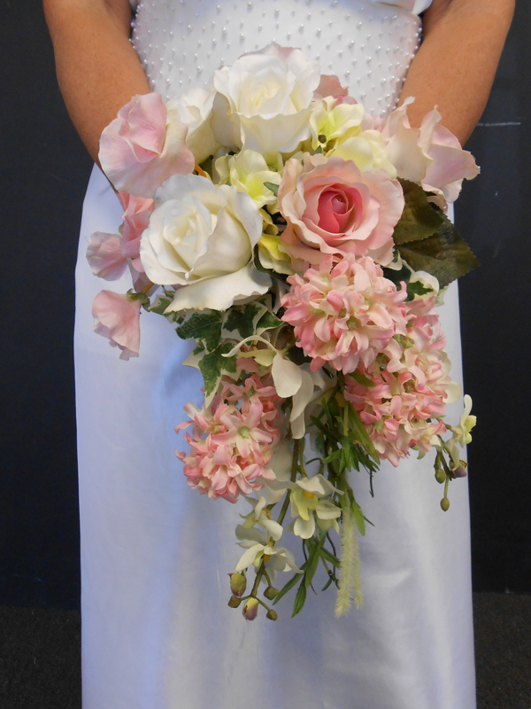 Pink and white cascading bridal bouquet