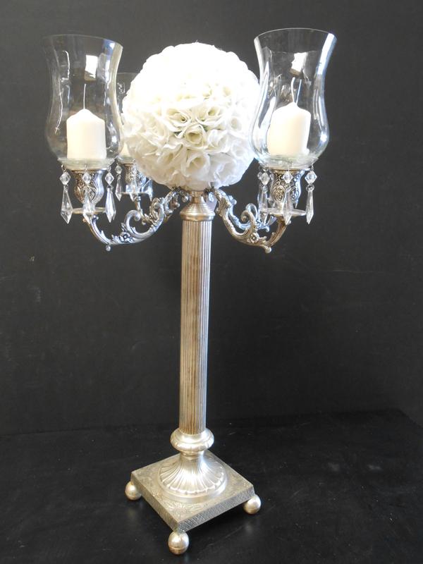 Silver and bobeche candelabra