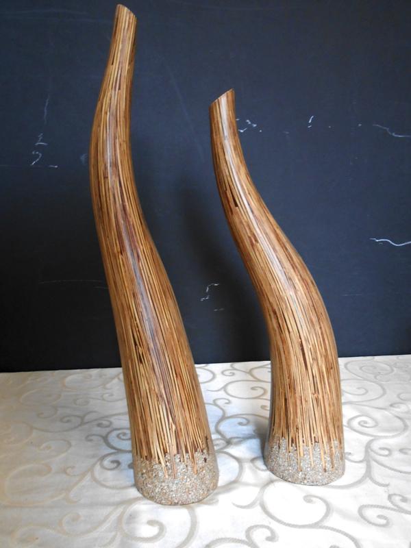 Freeform wood vases