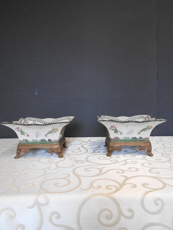 Botanical footed Asian Ceramic dish
