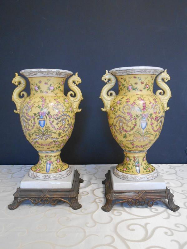 Seahorse yellow Asian Ceramic urn