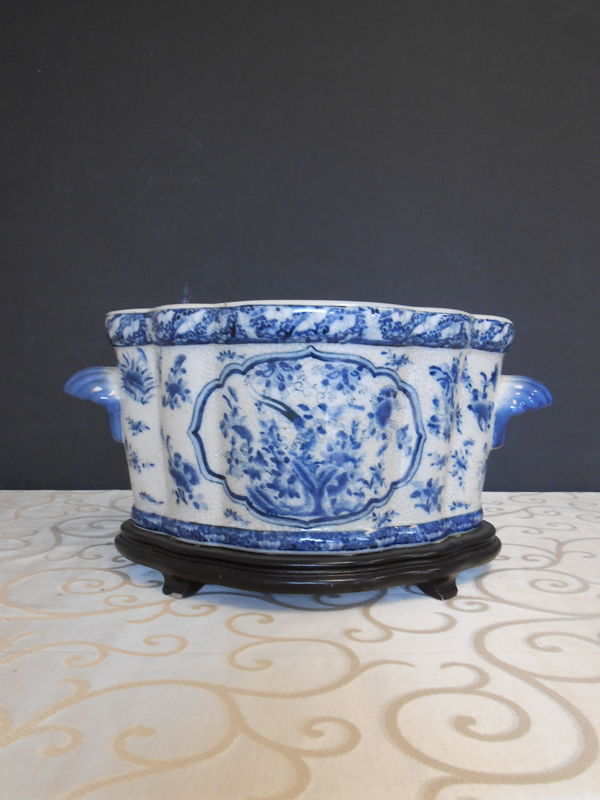 Blue and white botanical pot