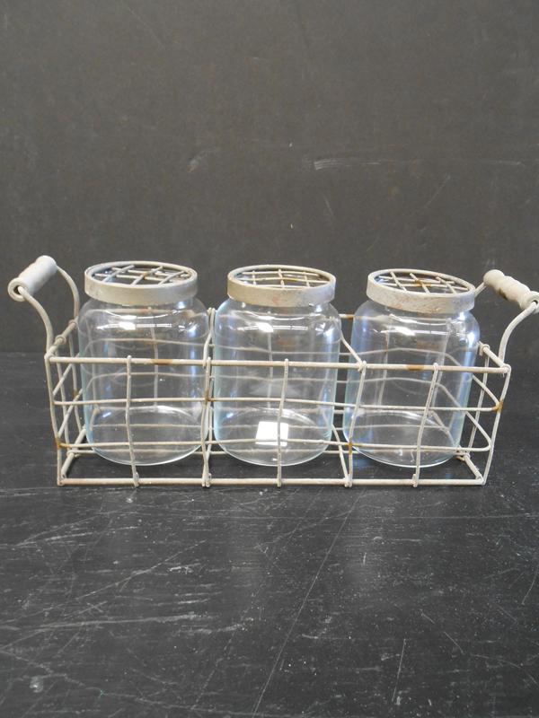 Mason jars in rack