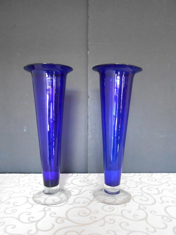 Fluted cobalt vase