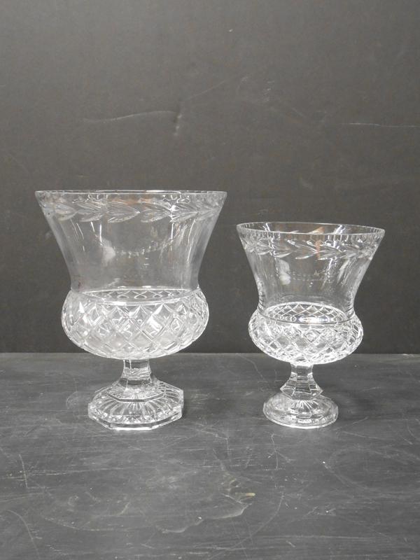 Footed cut crystal vase