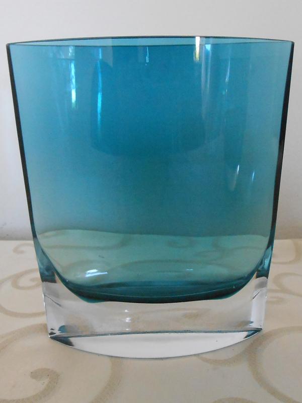 oval crystal blue vase