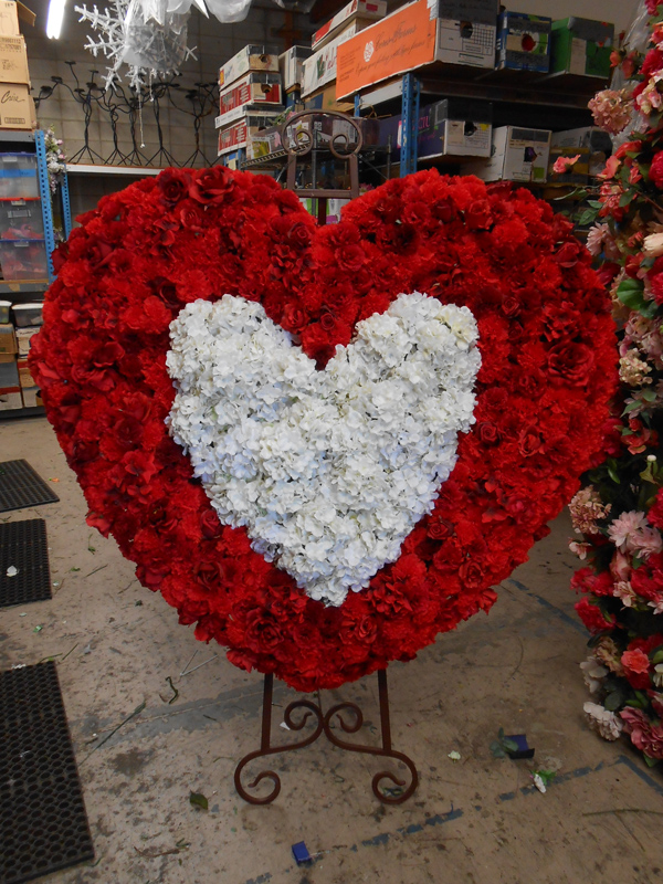 Red and white heart easel