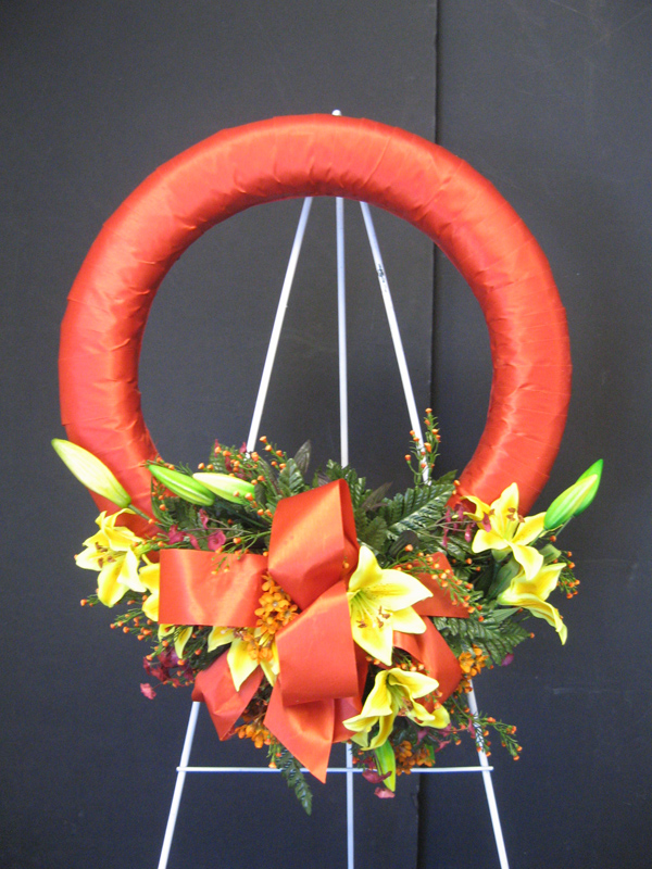 Orange easel wreath