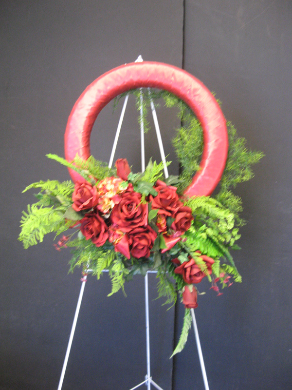 Red with ferns wreath