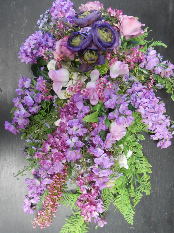 Lavender  and fern easel spray
