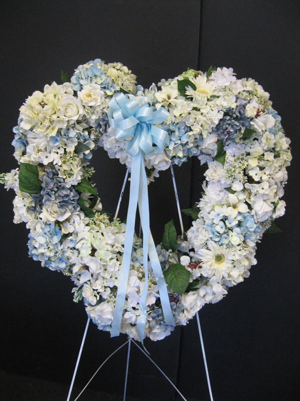 White and blue open heart