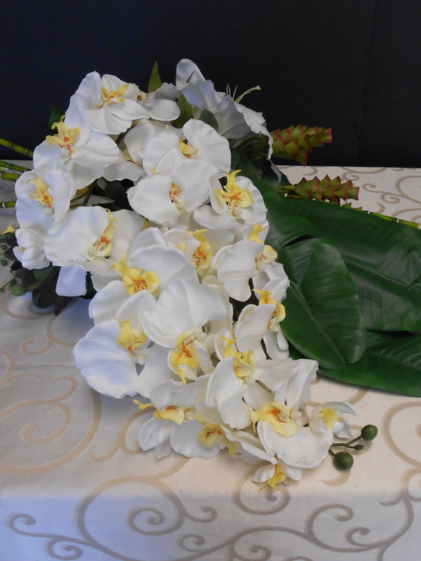 white orchid casket spray