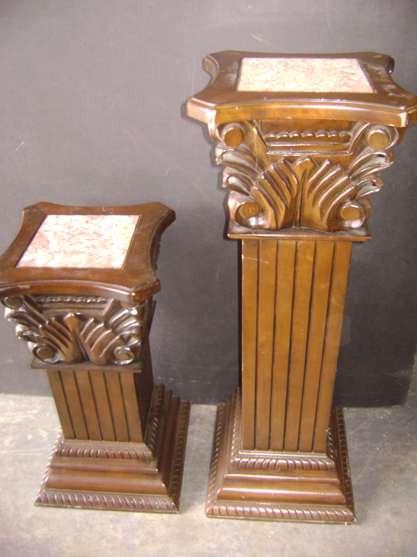 carved wood pedestal
