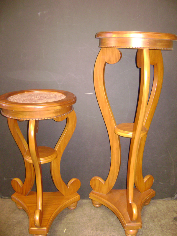 maple and marble pedestal