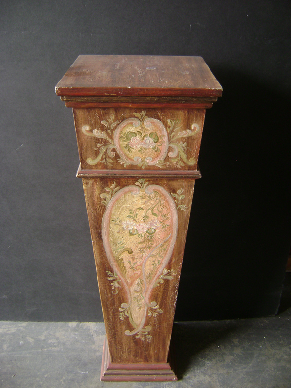 Italian painted wood brown pedestal