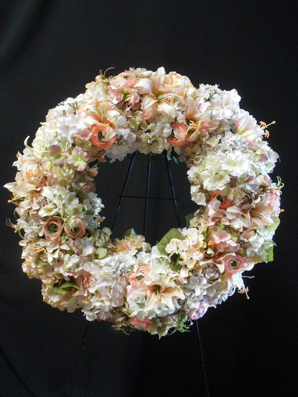 Peach and white wreath