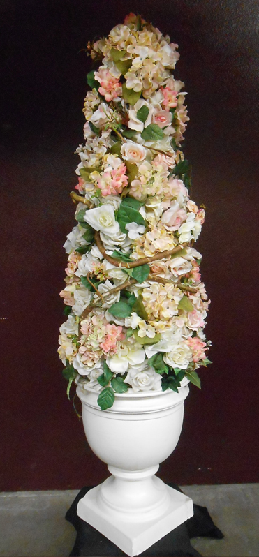 Pastel floral conical topiary