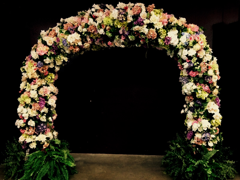 Pinks and whites floral arch