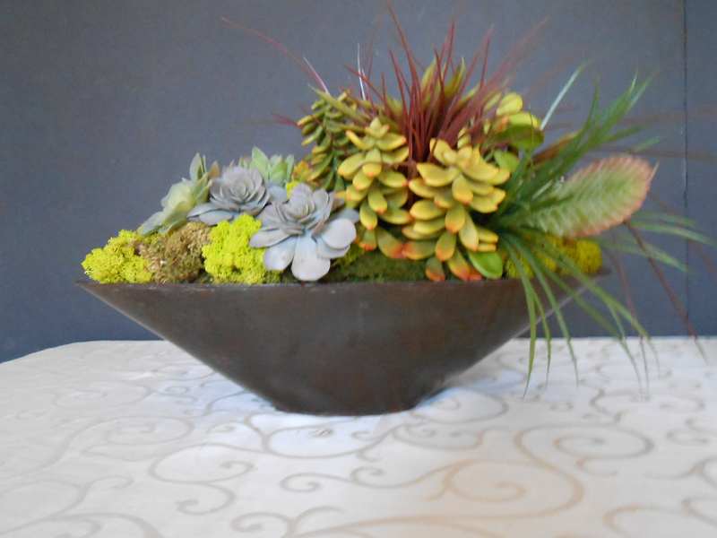 oblong arrangement with succulents