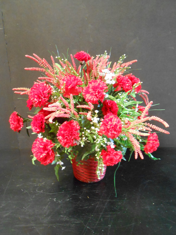Vintage red carnation floral arrangement