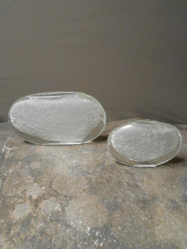 Crackled Glass Oval Vases