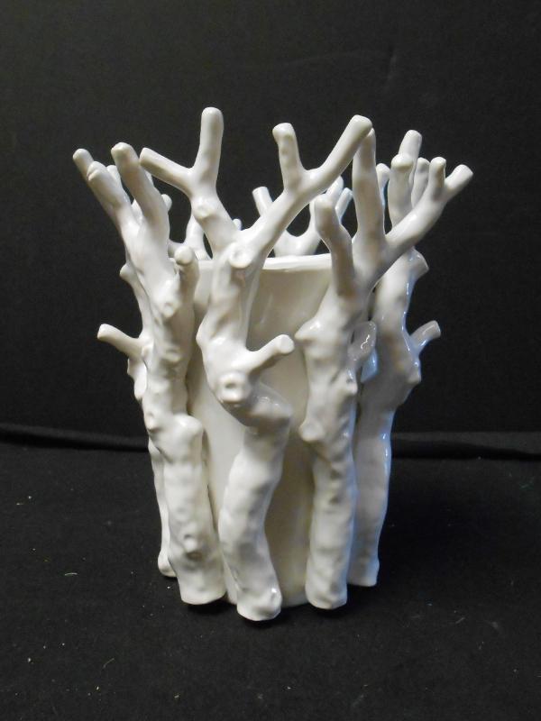 White ceramic branch vase