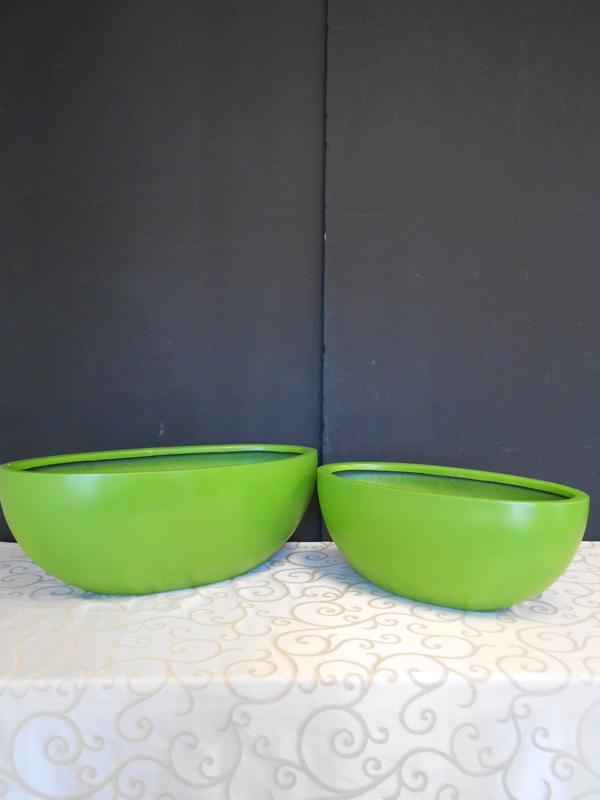 Green fiberglass oval bowl