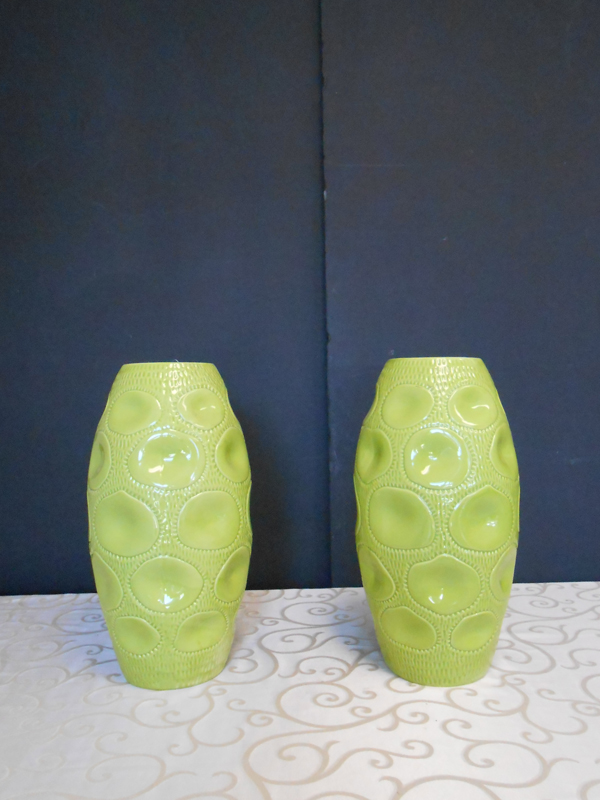 Green ceramic dimple vase
