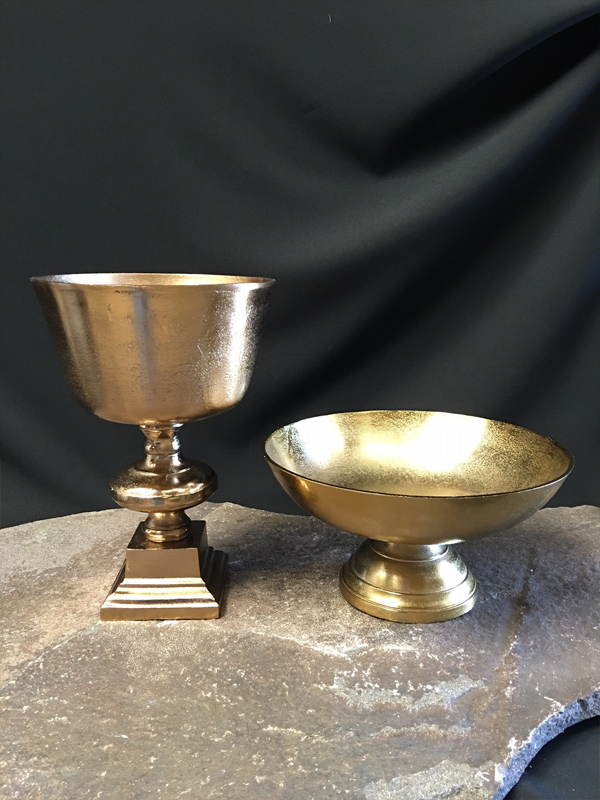 Metal chalice and bowl