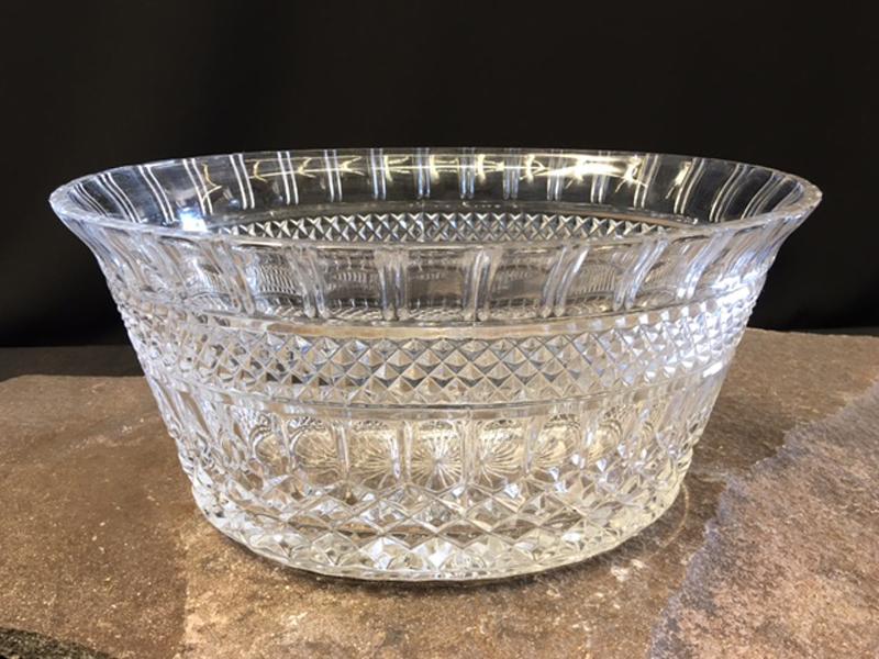 Large oval crystal bowl