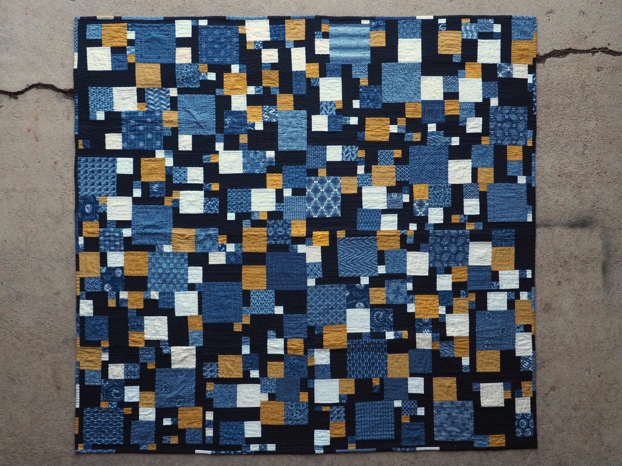 Quilt no. 017: Redux. 2016. Various cottons and cotton blends. 53.5″ x 55.