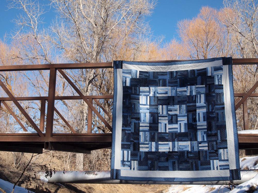 Quilt no. 014: Denim Scrap. Various cotton and cotton blend denims. 75″x 75″.