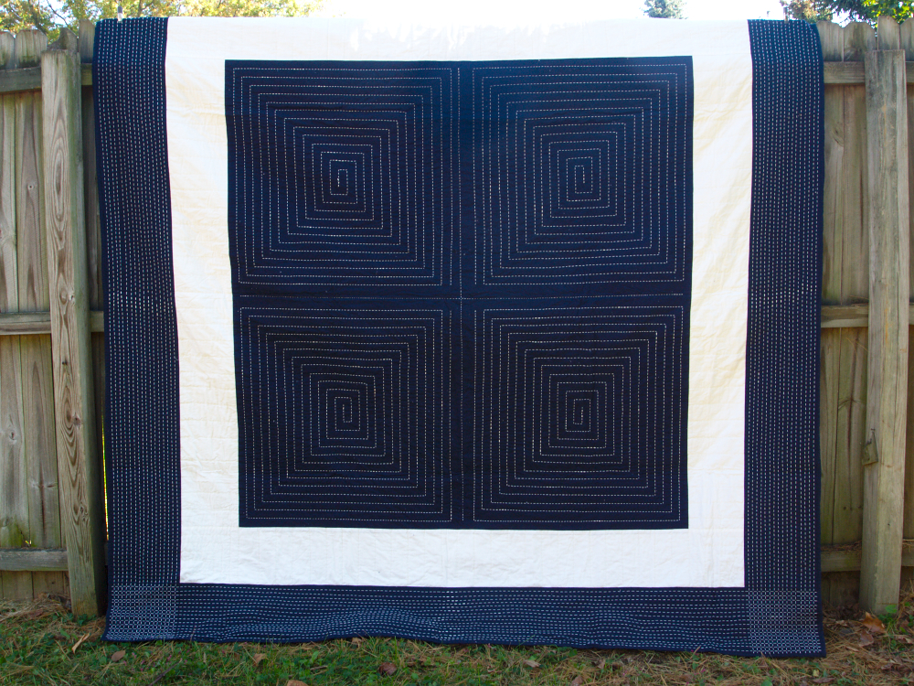 Quilt no. 006: White on Indigo. 2013. Quilting cottons. 90″ x 90″