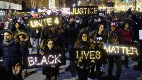 Biểu tình chống sựkỳthị của cảnh sát Mỹ, nguồn internet.
