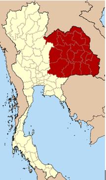 Hình 1: Cao nguyên Isaan [màu đỏ]