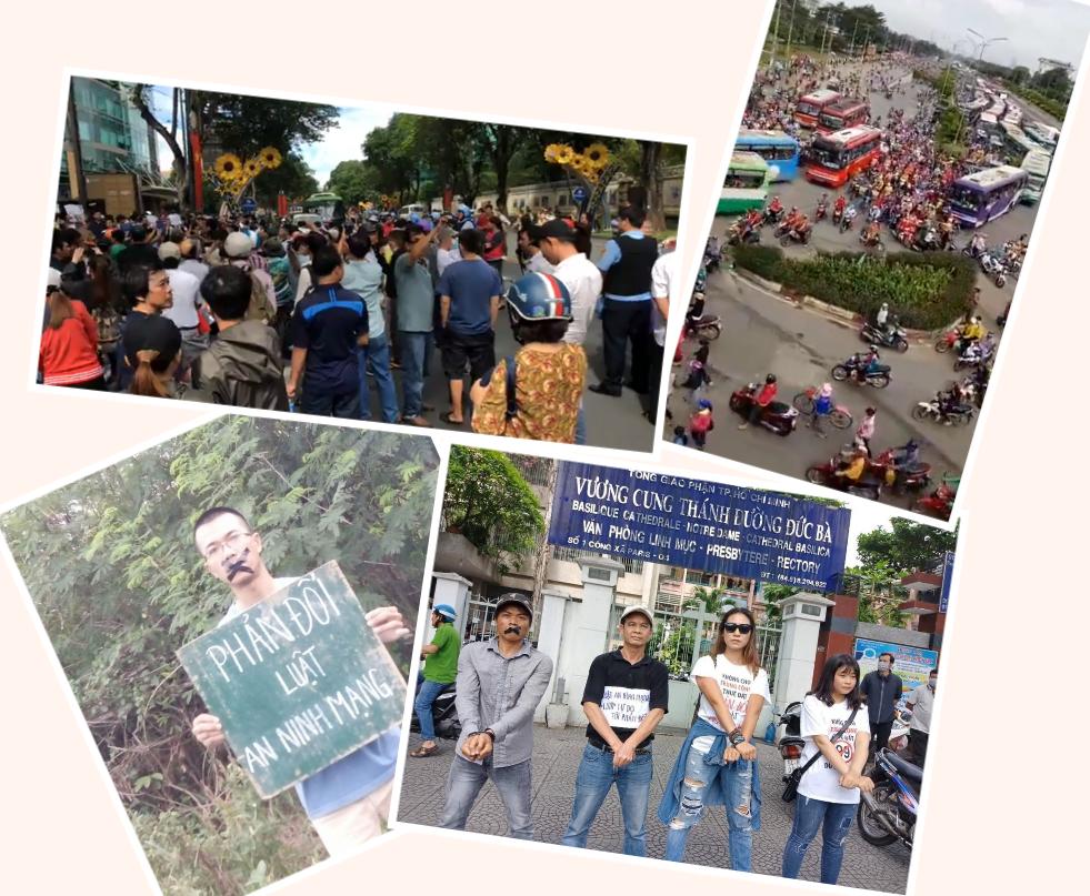Người dân VN biểu tình tại thành phố Sai gon trong các ngày 9 và 10 tháng 6, 2018. Hình ảnh lấy từ internet.