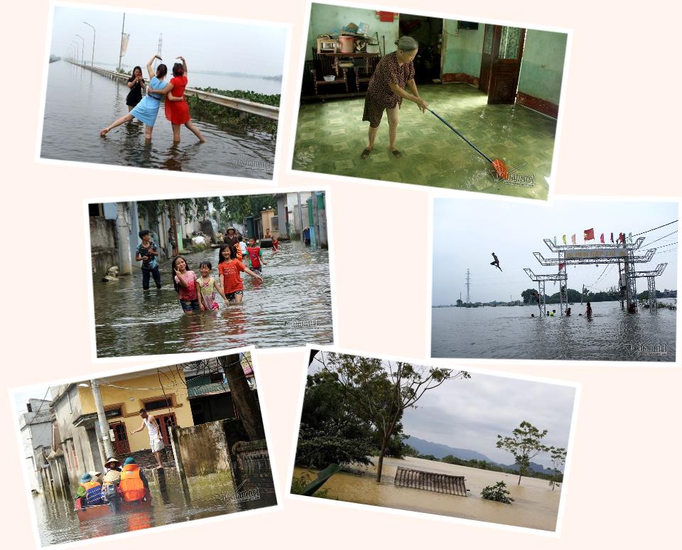 Hà Nội lụt ngày mưa và vỡ đê làm ngập lụt nhà dân do mưa lớn ở Chương Mỹ Hà Nội.