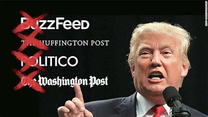 Trump chỉ trích truyền thông Mỹ, cho rằng họ tung tin giả và do đó là kẻ thù của nhân dân Mỹ. Nguồn internet.