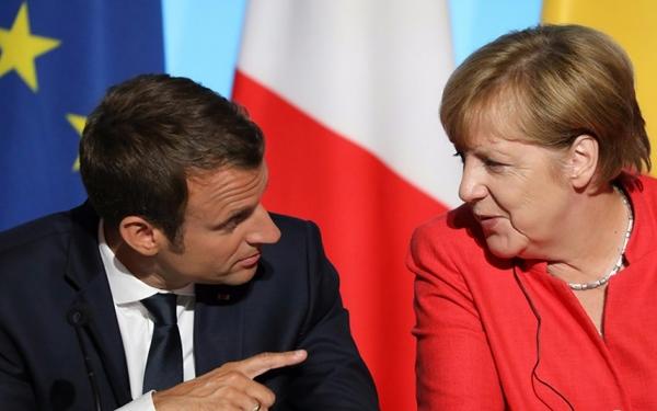 Tổng thống Pháp Emmanuel Macron và Thủ tướng Đức Angela Merkel. Nguồn internet.