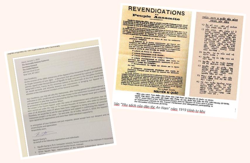 Bản yêu sách 8 điểm cho VN năm 1919 và năm 2019. Nguồn: Tễu Blog và RFA.