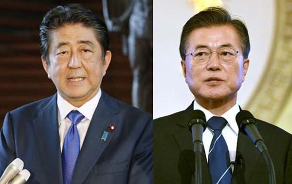 Thủ tướng Nhật Bản Shinzo Abe và Tổng thống Hàn Quốc Moon Jae-in. Nguồn internet.