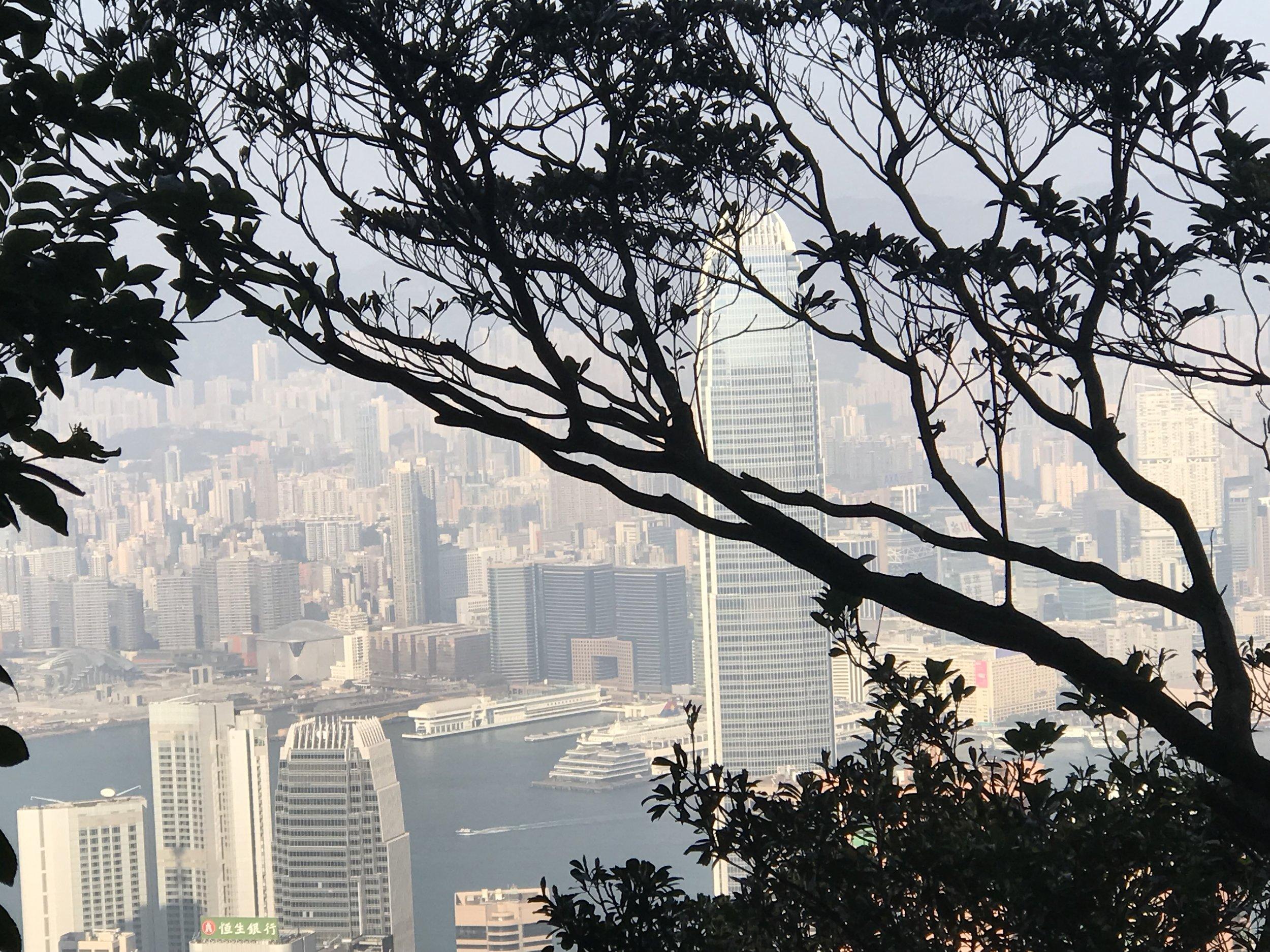 Từ trên đỉnh Victoria, Kowloon người ta có thể nhìn thấy Hong Kong bị bao bọc bởi đám khói sương ô nhiễm bay sang từ Trung Quốc.