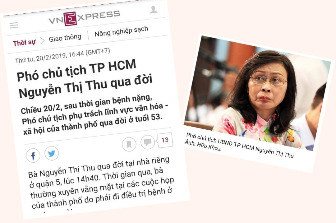 Phó CT UBND TPHCM Nguyễn Thị Thu người ký văn thư cho phép cẩu lư hương dưới chân Đức Thánh Trần đã qua đời, 3 ngày sau khi văn thư được ký.