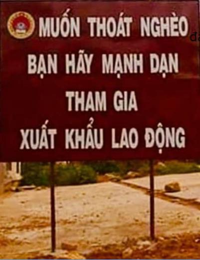 Bảng quảng cáo Xuất Khẩu Lao Đông tại Việt Nam. Nguồn Facebook.