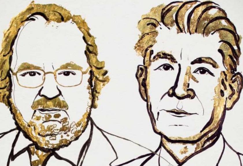 Bản họa hai Giáo Sư James P Allison và Tasuku Honjo, người đoạt giải Nobel về y khoa hay sinh lý học. của    Ủy ban Nobel.