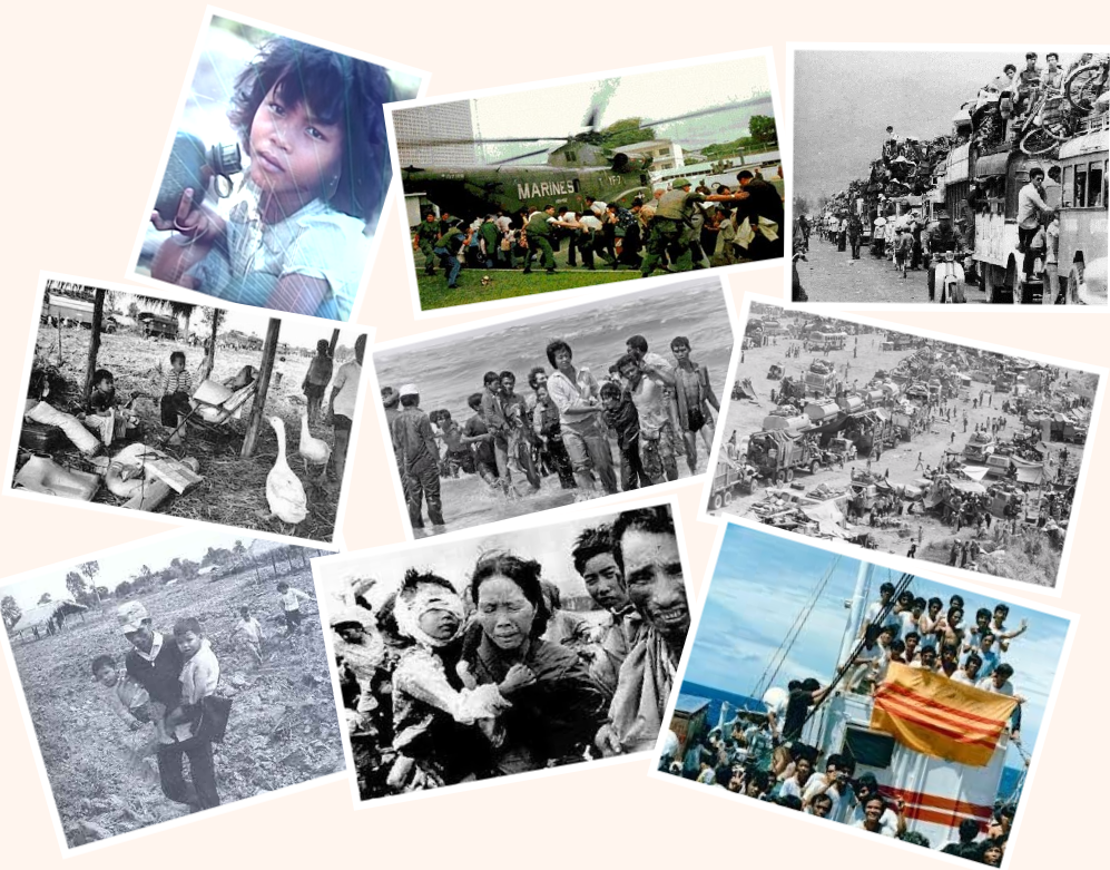 Bước chân đi tìm tự do của người dân sau ngày Việt Cộng tiến chiếm miền Nam. Nguồn ảnh từ internet.