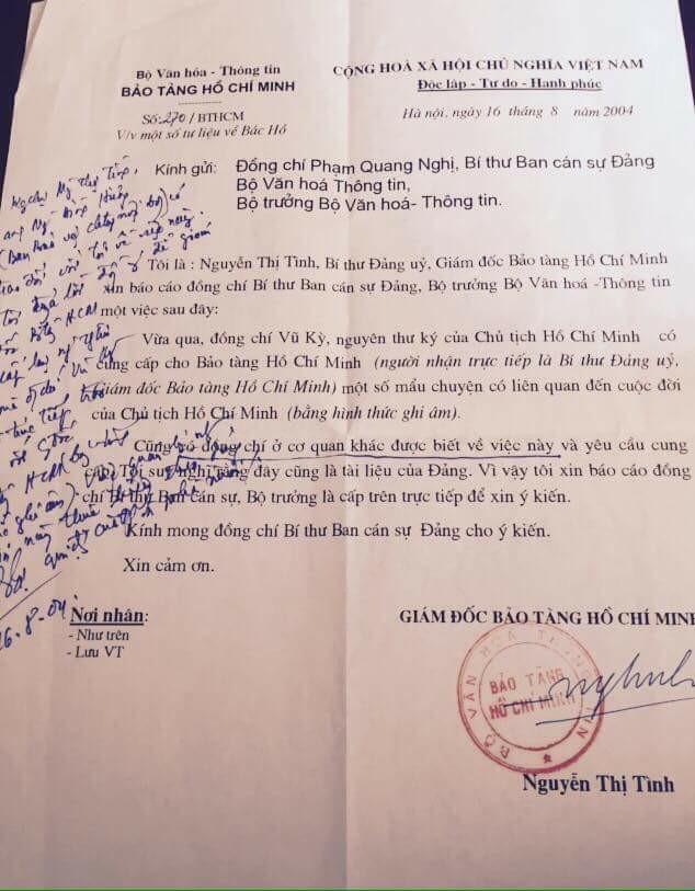 Báo cáo tư liệu đặc biệt của Vũ Kỳ từ Bí Thư Đảng ủy Nguyễn thị Tình, Giám đốc Bảo tàng Hồ Chí Minh.