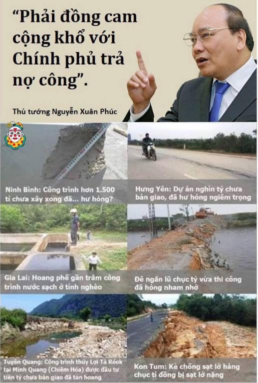 Người dân có trách nhiệm phụ dỡ chính phủ trả nợ công - Thủ tướng VC nguyễn xuân phúc. Nguồn Tễu Blog.