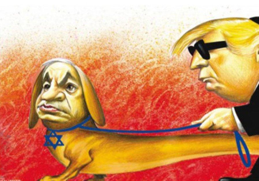 Trump và con chó dẫn đường Netanyahu (nguồn hí họa NYT ấn bản quốc tế)
