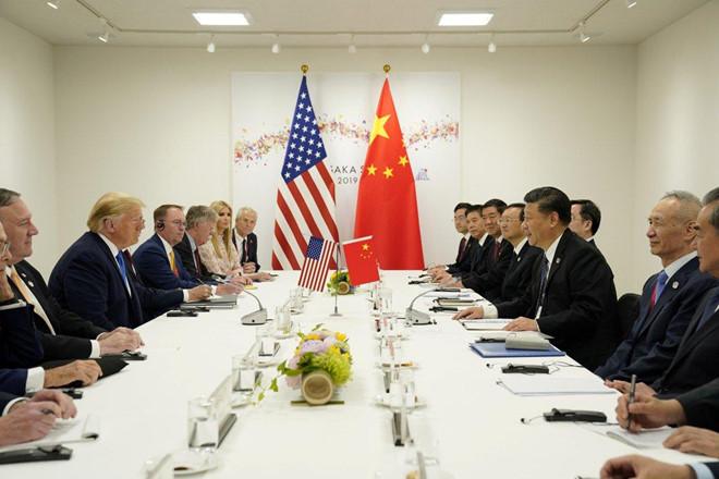 Cuộc họp giữa TT Trump và CT Tập Cận Bình vào sáng ngày 29 tháng 6 tại Hội Nghị Thượng Đỉnh Osaka, Nhật Bản. Nguồn internet.